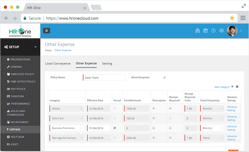 expense management system panel