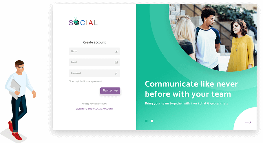 chat anytime with hr-one social